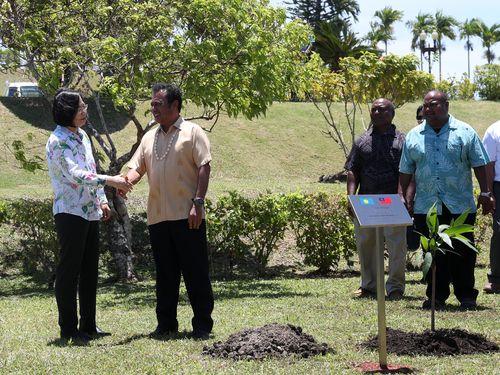 植樹式で握手を交わす蔡英文総統(左)とレメンゲサウ大統領