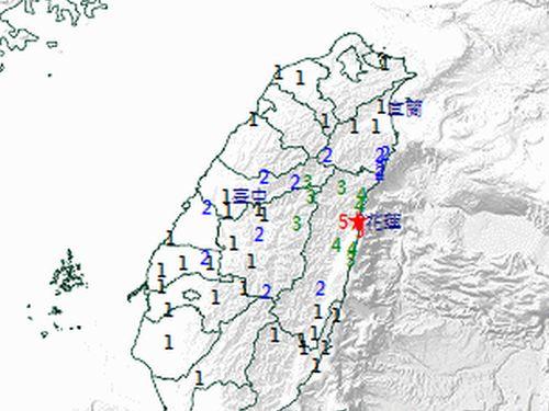 9日午後11時13分ごろに起きたM5の地震の推計震度分布図=中央気象局提供