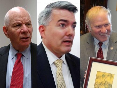 台湾支持を表明した(左から)民主党のカルダン上院議員、共和党のガードナー上院議員、シャボット下院議員