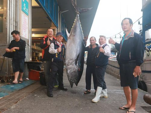 宜蘭県の漁師が漁獲した今年の「台湾初マグロ」=蘇澳区漁会のフェイスブックページより