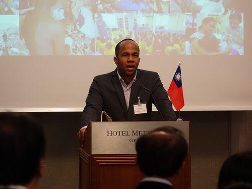 WHO総会で台湾のために声を上げるセントビンセント・グレナディーンの保健相、ルーク・ブラウン氏=2017年