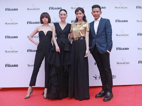 カンヌ国際映画祭に参加する(右から)ミディ・ジー監督、ビビアン・ソン、ウー・クーシー、キミ・シア=岸上影像提供