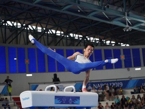 体操男子種目別のあん馬で金メダルを獲得した李智凱=大会の公式サイトより