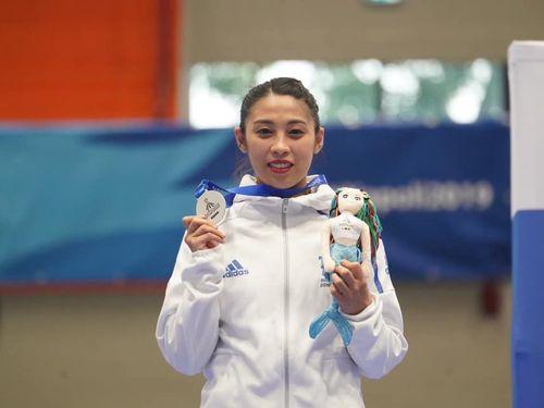 テコンドーの女子個人プムセで銀メダルを獲得した蘇佳恩=同大会の公式サイトより