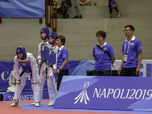 夏季ユニバのテコンドー女子団体で韓国を下した台湾代表チーム=大会の公式サイトより