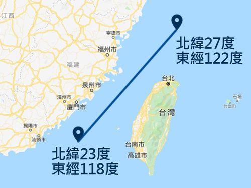 国防部によって公表された台湾海峡中間線=グーグルマップから