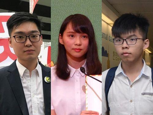 香港警察に逮捕された(右から)ジョシュア・ウォン氏、アグネス・チョウ氏、陳浩天氏