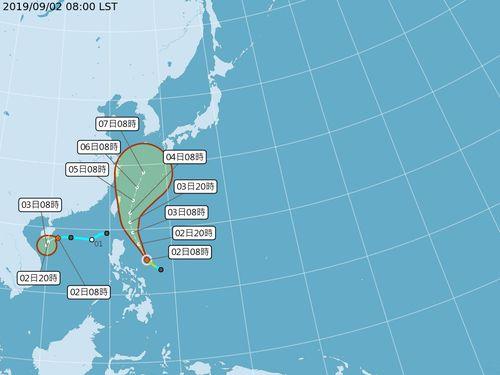 台風13号発生、4日から5日にかけて台湾に最も近づく見通し=中央気象局の公式サイトより