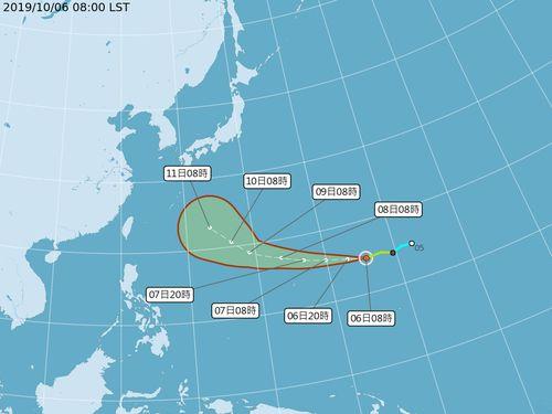 台風19号が発生 台湾への影響、しばらくは無し=中央気象局提供