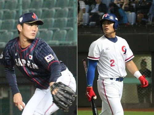 日本代表の先発投手、堀誠(NTT東日本、左)と台湾代表の4番打者、張育成(米インディアンス)