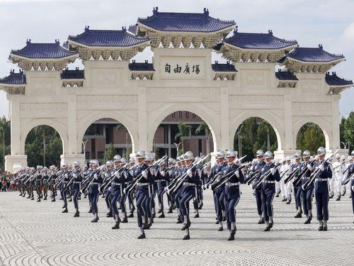 国軍楽儀隊、国慶節祝賀パレード本番に向けて特訓中