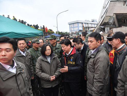 蔡英文総統、台湾東部地震の被災地を視察