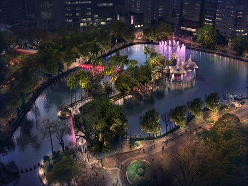 台中公園の夜がロマンチックに 池のライトアップ、8月に点灯予定