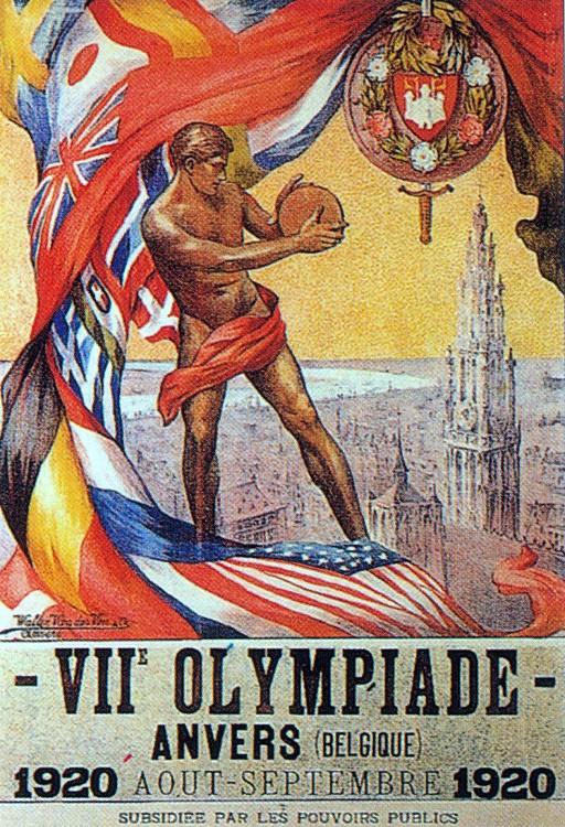 1920年第七屆安特衛普奧運 Antwerp (比利時 安特衛普):第一次大戰後首屆奧運 會場首次升起五環旗