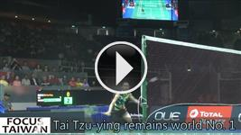 Taiwanese badminton player Tai Tzu-ying remains world No. 1