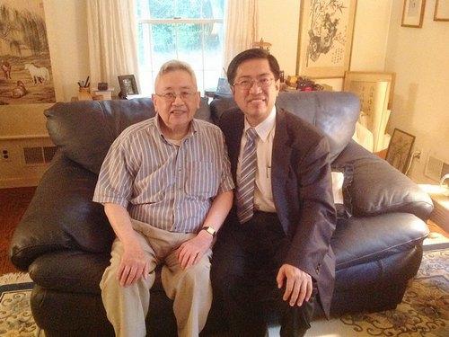 Historian Yu Ying-shih (left) and Tang Prize Foundation CEO Chern Jenn-chuan.