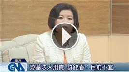 勞基法入刑 許銘春:目前不宜