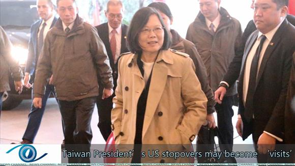 Taiwan President's US stopovers may become 'visits'