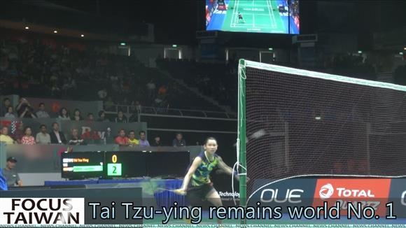Taiwanese badminton player Tai Tzu-ying remains world No. 1
