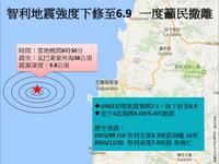 智利地震强度下修至6.9 一度吁民撤离