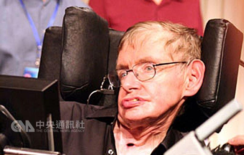 英國物理學家霍金14日逝世,享壽76歲。他的子女發表聲明,沉重宣布「摯愛的父親今天過世」。(中央社檔案照片)