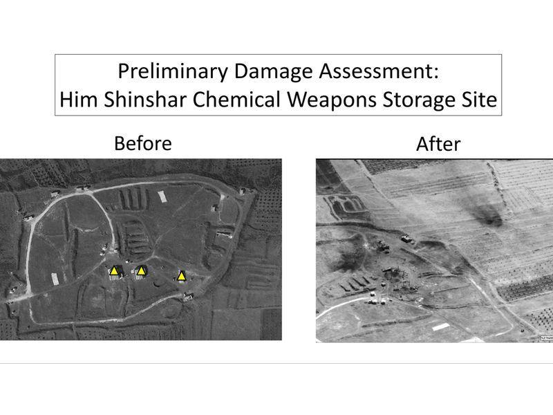 美國國防部14日公布對比照片,顯示敘利亞化武設施已經遭到摧毀,攻擊行動成功。(圖取自美國國防部網頁www.defense.gov/)