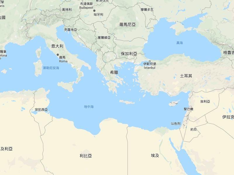 地中海域3日有逾50名移民溺斃,其中大部分在突尼西亞和土耳其外海遇難。(圖取自Google地圖網頁google.com.tw/map)