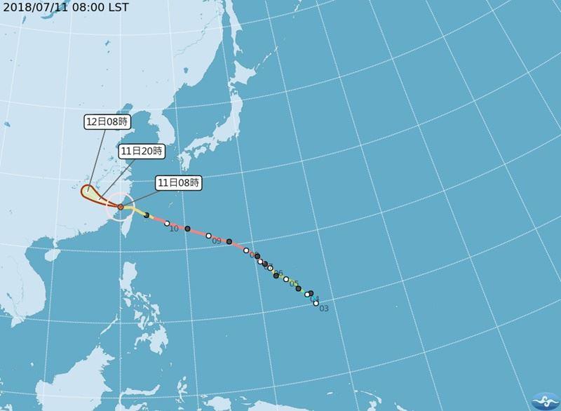 中央氣象局於11日下午2時30分正式解除瑪莉亞颱風的海上、陸上颱風警報。(圖取自氣象局網頁www.cwb.gov.tw)