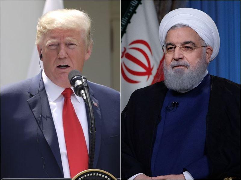 美國總統川普(左)6日證實,華府將重啟對德黑蘭制裁措施。右為伊朗總統羅哈尼。(圖左為中央社檔案照片;圖右為安納杜魯新聞社提供)
