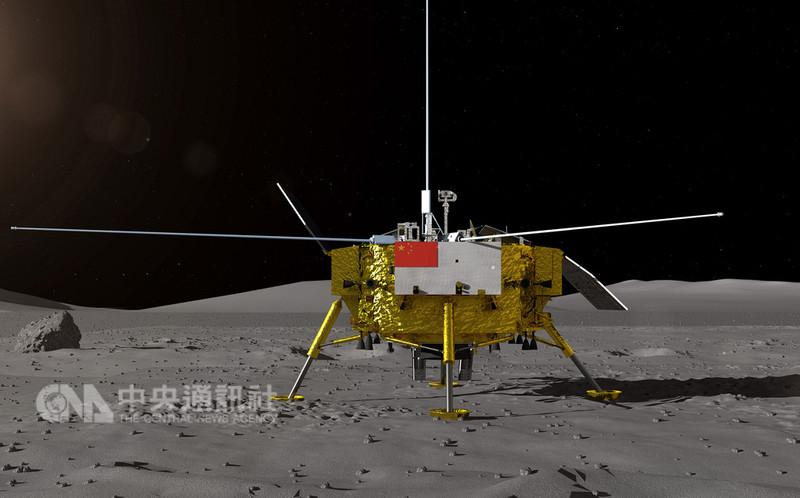 中國大陸預定今年12月實施「嫦娥四號」探月任務,實現全球首次在月球背面登陸探測。圖為中國國家國防科技工業局探月與航天工程中心15日發布的嫦娥四號著陸器登月效果圖。(中新社提供)中央社 107年8月15日