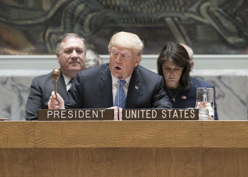 美國總統川普26日指控中國企圖干預美國11月期中選舉。(圖取自聯合國安理會網站www.un.org)