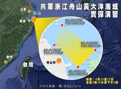 共軍24日起浙江舟山海域實彈演習