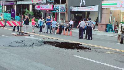 污水管線破損路面下陷  高市搶修通車
