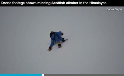墜喜馬拉雅山冰崖36小時 無人機發現他還活著[影]
