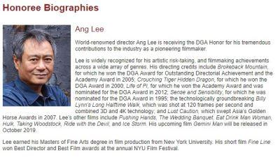 美導演工會喻為傳奇 李安將獲頒終身榮譽獎