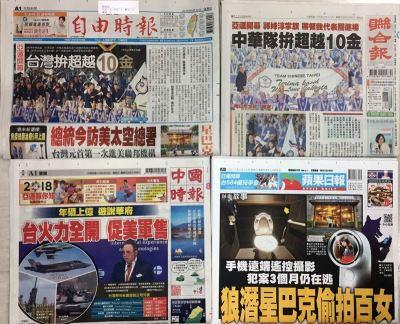 107年8月19日台灣各報頭條速報