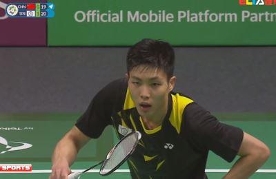 亞運羽球男團戰 周天成擊敗中國石宇奇拿首點