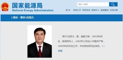 維吾爾族從政代表  中國國家能源局長被查