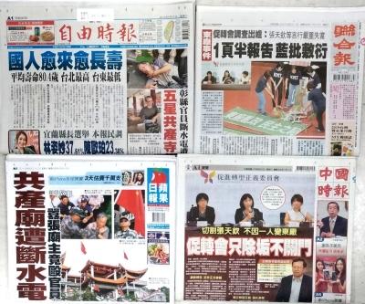 107年9月22日台灣各報頭條速報