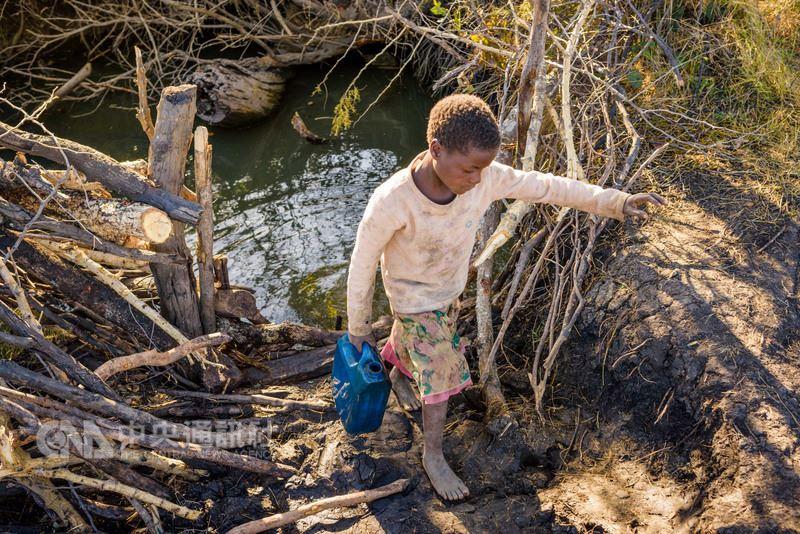 非洲尚比亞布蘭達村的9歲女孩朵卡絲(Dorcas Hamasamu)過去每天都要往返水坑4次,為全家人取水。(台灣世界展望會提供)中央社記者陳偉婷傳真 107年3月3日