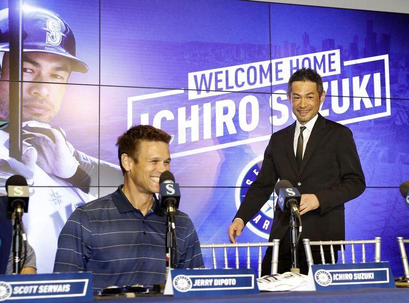 44歲的日籍球星鈴木一朗(圖)與美國職棒大聯盟前東家西雅圖水手隊簽一年約,將展開他在大聯盟第18個球季。(共同社提供)