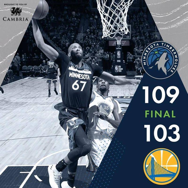 美國職籃NBA明尼蘇達灰狼11日以109比103擊敗上屆NBA總冠軍金州勇士。(圖取自明尼蘇達灰狼臉書www.facebook.com)
