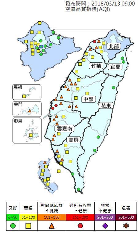 根據環保署空氣品質監測網,中南部地區13日一早已有多個測站空氣品質指標(AQI)達到橘色或紅色等級。(圖取自空氣頻質監測網taqm.epa.gov.tw)