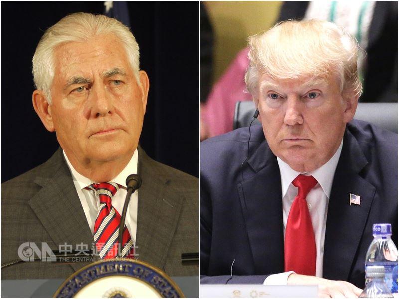 美國總統川普(右)13日宣布撤換國務卿提勒森(左),國務次卿高德斯坦表示,川普後來解釋,主因他與提勒森意見不合。(中央社檔案照片)