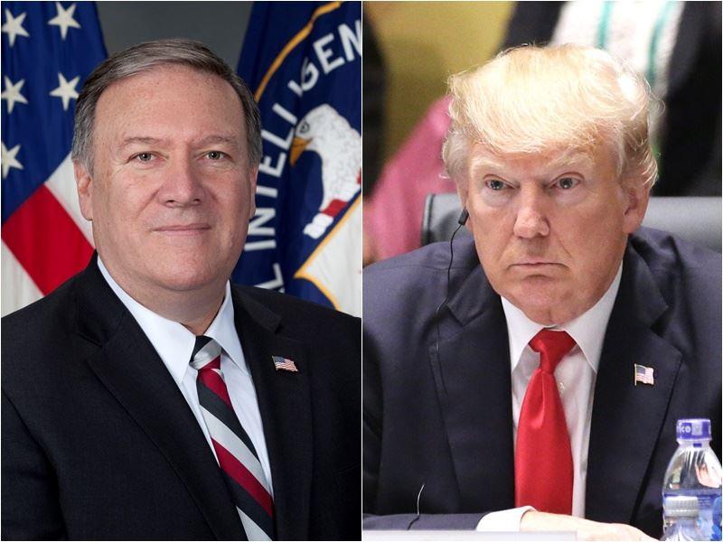 美國國務卿由川普(右)忠實盟友蓬佩奧(左)接任。(右圖為中央社檔案照片/左圖取自維基共享資源,版權屬公有領域)