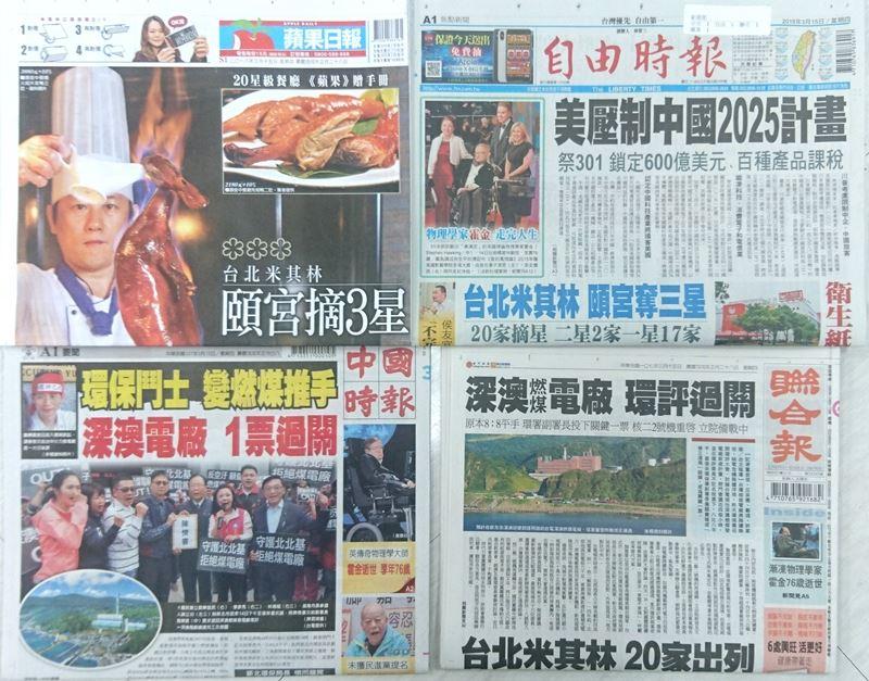3月15日台灣各報頭條速報