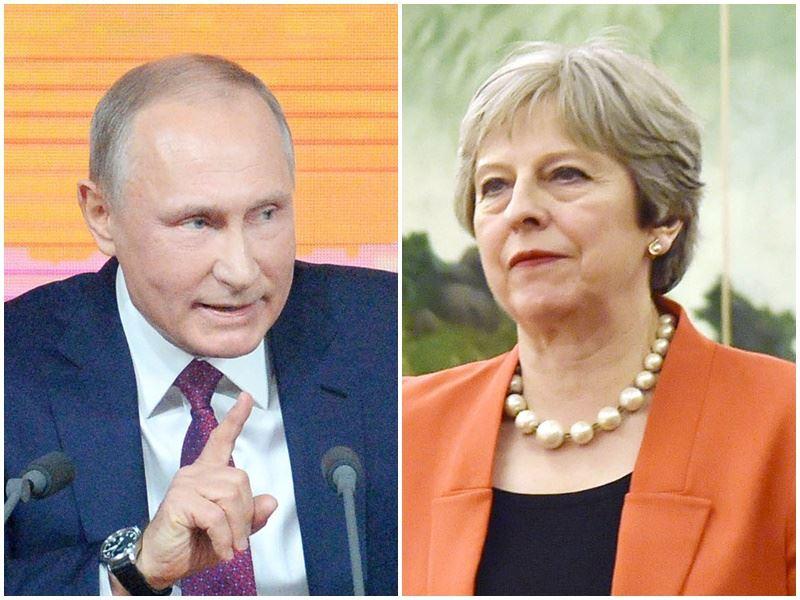 俄羅斯間諜在英國遭毒殺一事,英國首相梅伊(右)驅逐23名俄國外交官。俄羅斯外交部17日也宣布驅逐23名英國外交官。左為俄羅斯總統蒲亭。(檔案照片/共同社提供)