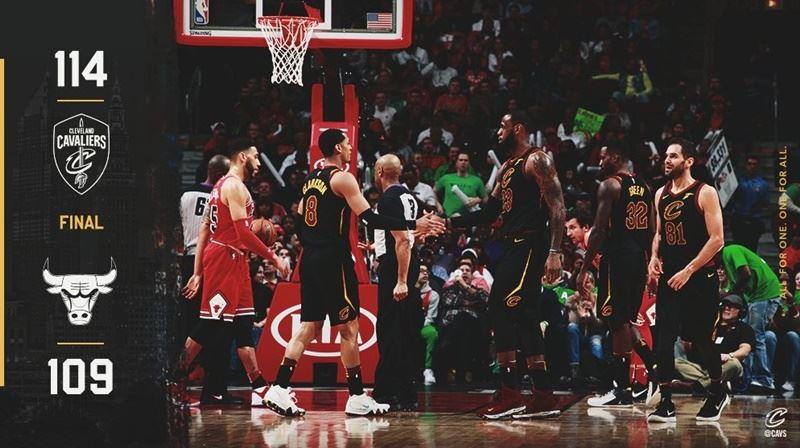 美國職籃NBA克里夫蘭騎士球星詹姆斯斬獲33分、13籃板與12助攻,繳出本季第15次、生涯第70次「大三元」,率隊伍以114比109擊敗芝加哥公牛。(圖取自騎士隊推特twitter.com/cavs)