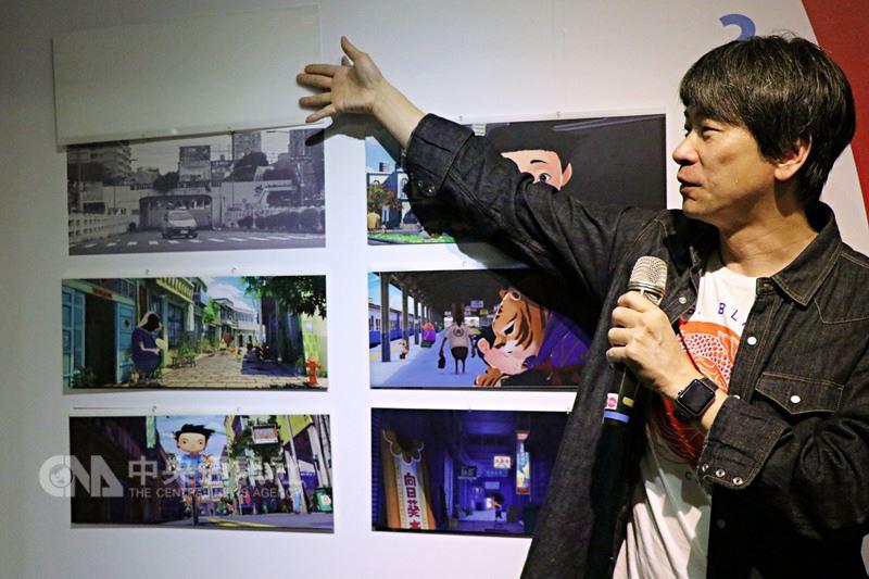 台灣原創動畫電影「小貓巴克里」動畫美術特展,即日起至4月22日在府中15新北市動畫故事館展出,導演邱立偉18日現身導覽,分享創作歷程。中央社實習記者林欣慧攝 107年3月18日