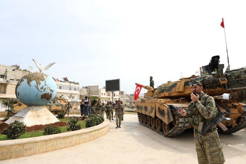 土耳其總統艾爾段說,土耳其支持的敘利亞反抗軍已「完全」控制阿夫林市中心。阿夫林為敘利亞北部庫德族居多數的城市。(法新社提供)